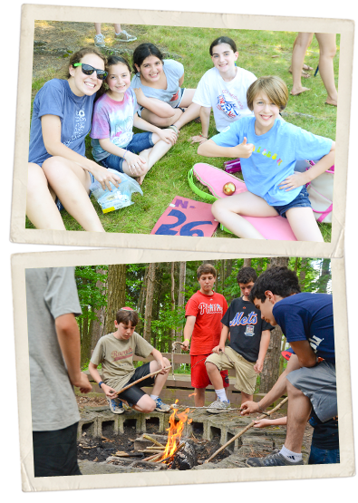 Groups of campers at Camp Ramah in the Poconos